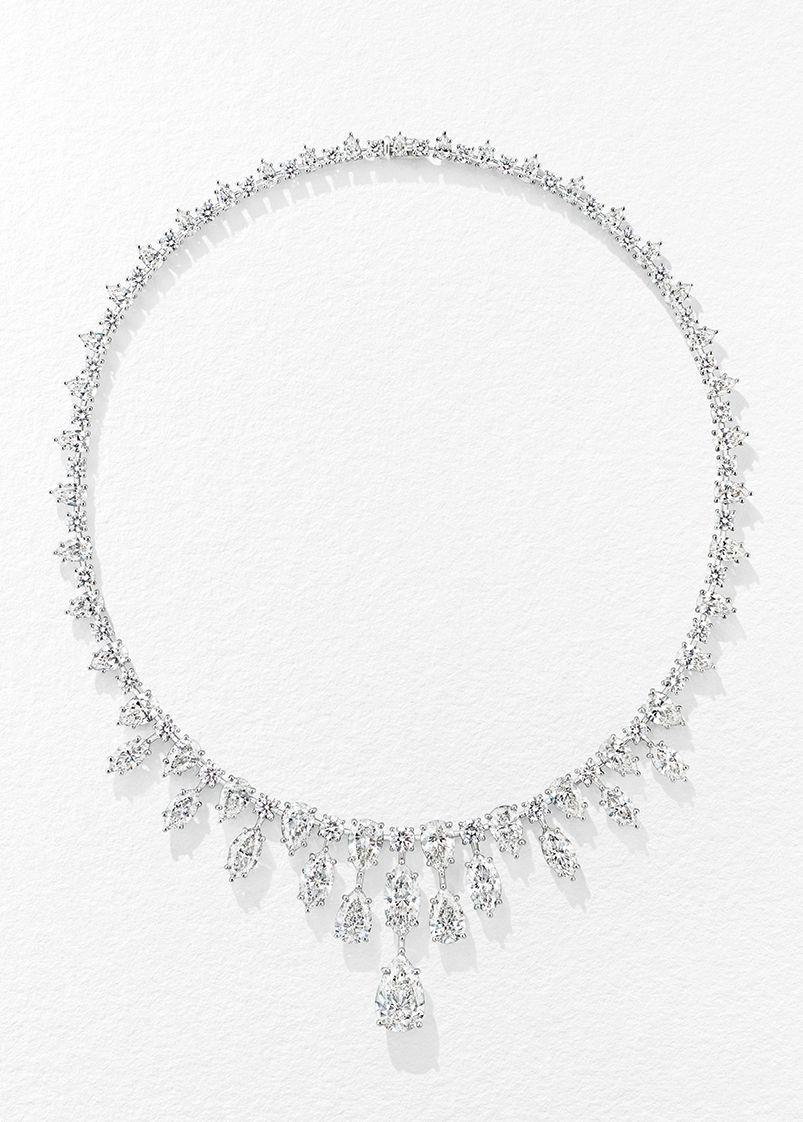 頂級珠寶系列Cascading鑽石項鍊。