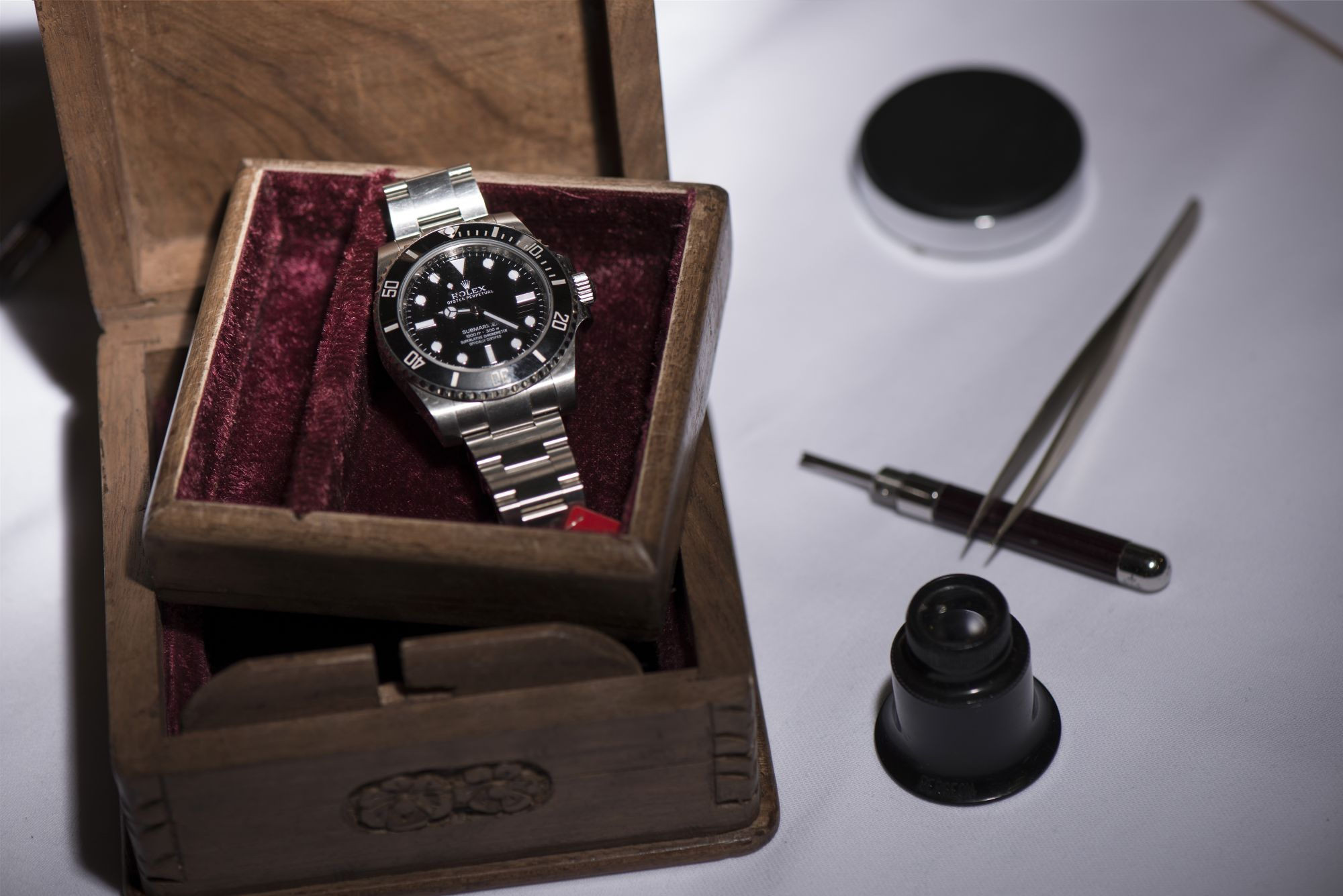 GENEVA, SWITZERLAND - NOVEMBER 06:  A Rolex Submariner wristwatch worn by explorer Mike Horn during his ascent of Mount Makalu expected to fetch between 21'000 to 41'000 USD is shown during a press preview at the auction house Christie's on November 6, 2015 in Geneva, Switzerland.  (Photo by Harold Cunningham/Getty Images)