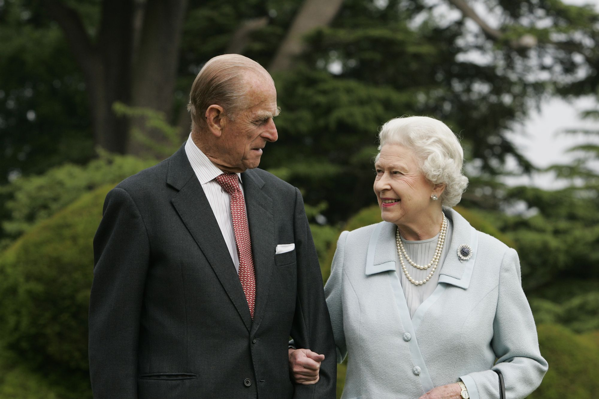 HAMPSHIRE, ENGLAND - UNDATED: In this image, made available November 18, 2007, HM The Queen Elizabeth II and Prince Philip, The Duke of Edinburgh re-visit Broadlands,  to mark their Diamond Wedding Anniversary on November 20. The royals spent their wedding night at Broadlands in Hampshire in November 1947,  the former home of Prince Philip's uncle, Earl Mountbatten. (Photo by Tim Graham/Getty Images)