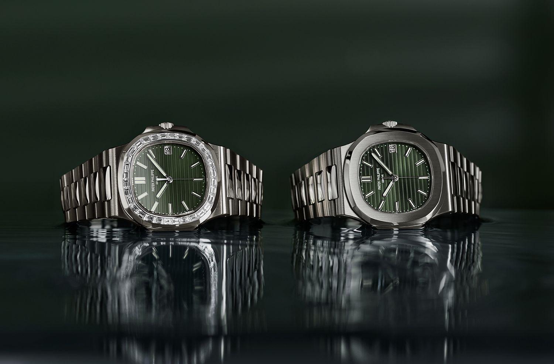 兩款全新綠面的Nautilus金鷹系列腕錶by Patek Philippe。