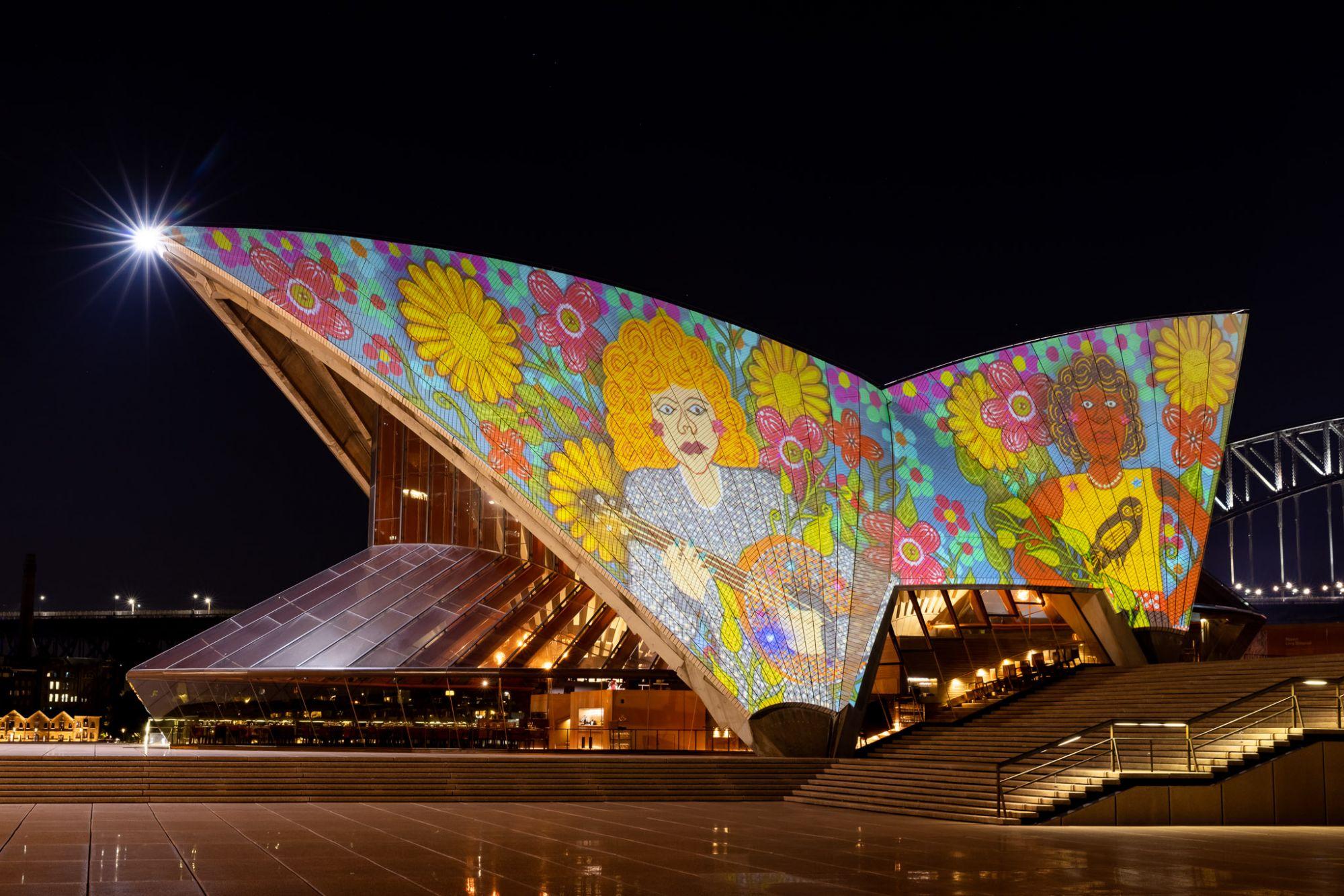 雪梨歌劇院絕美藝術燈光秀 頌揚原住民文化,慶祝澳洲新州藝術博物館 150 週年紀念!