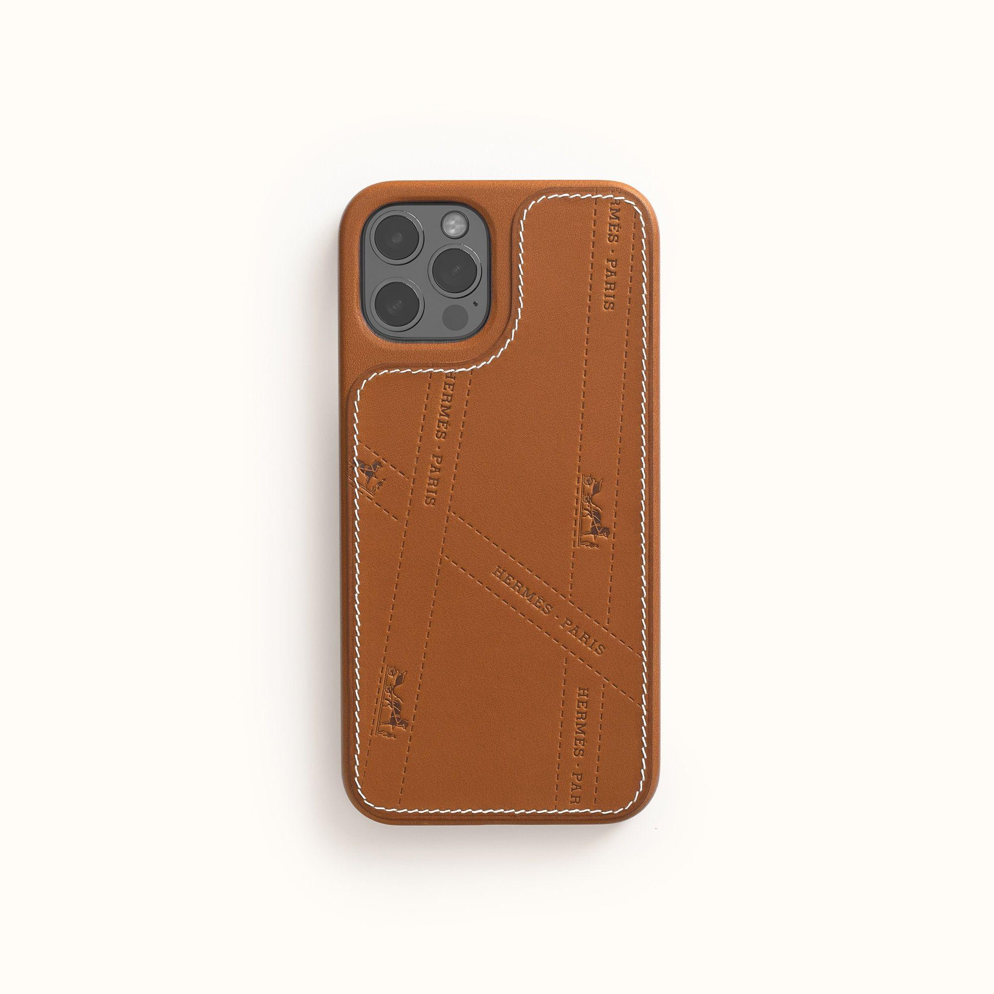 Iphone 12 or Iphone 12 pro 系列愛馬仕 Bolduc 圖紋 Barénia 小牛皮手機保護殼,建議售價 NT$16,050
