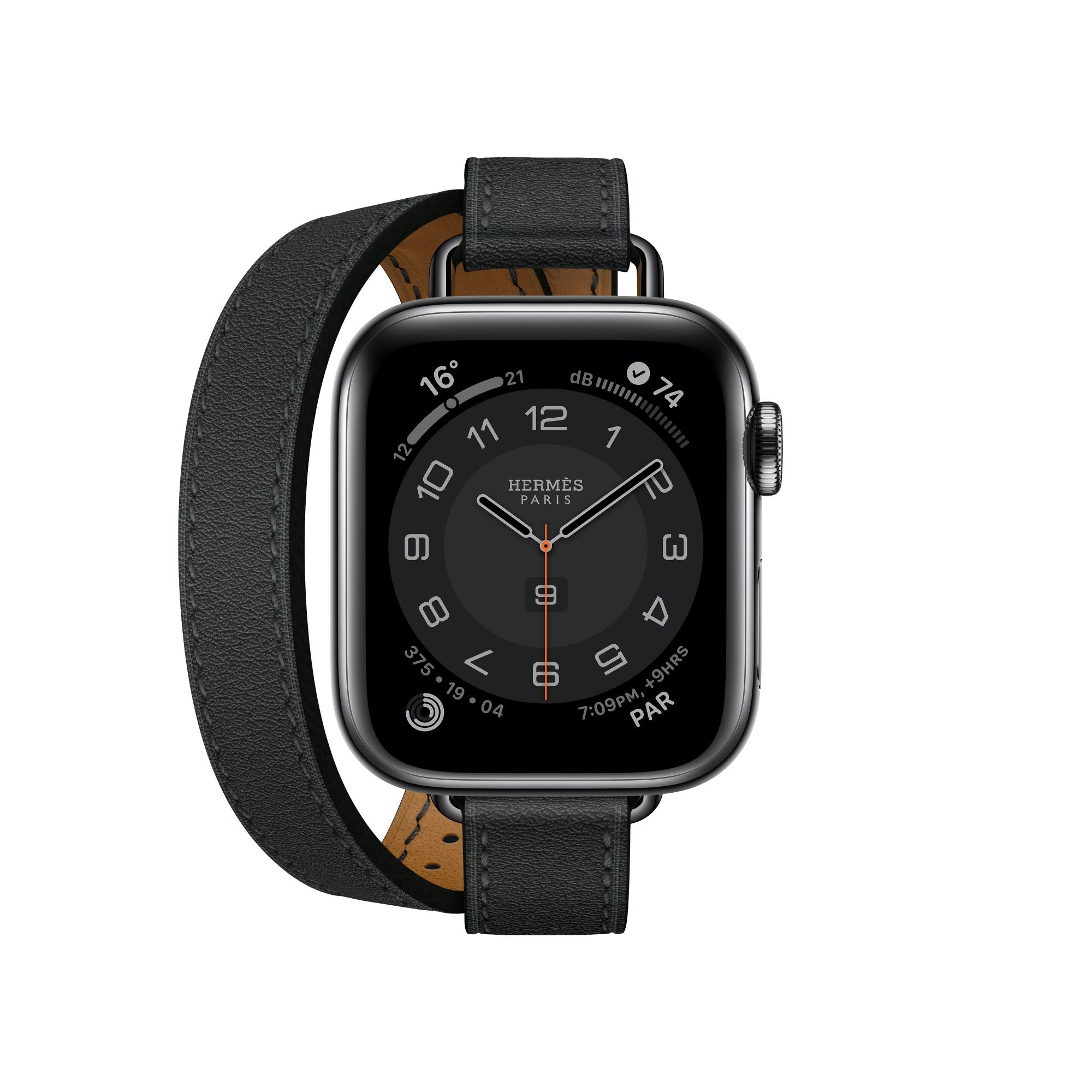 第六代 Apple Watch Hermès_Attelage 系列(40mm 錶殼)黑色雙圈 Swift 小牛皮錶帶錶款(雙錶帶),建議售價 NT$15,400