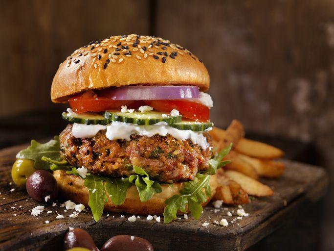 100% Lamb -Greek Burger with Arugula, Cucumber, Tomatoes, Feta and Tzatziki Sauce - Photographed on Hasselblad H3D2-39mb Camera