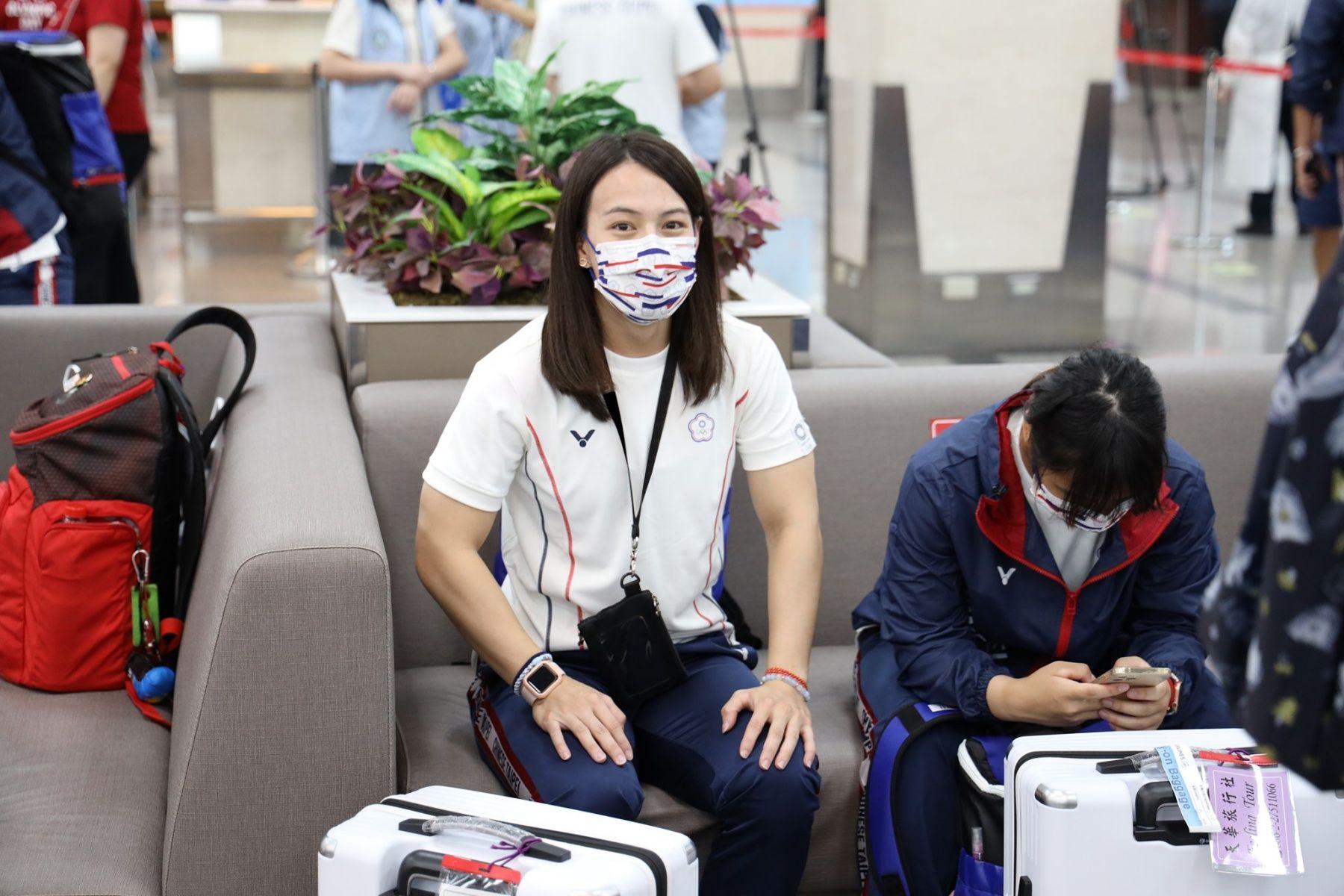 準備搭飛機前往東京奧運的郭婞淳。圖片來源/中華奧會@Facebook