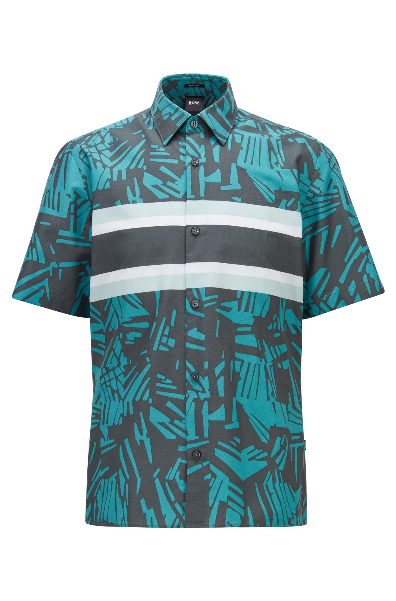 BOSS 深綠色條紋熱帶印花短袖襯衫
