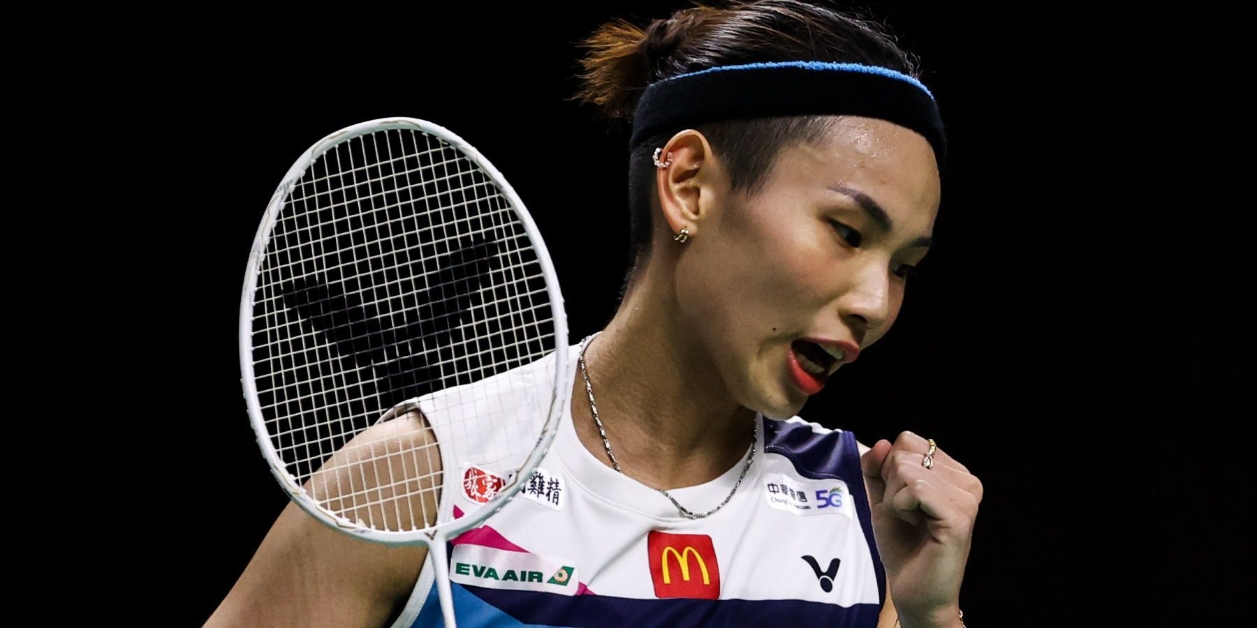BANGKOK, THAILAND - JANUARY 17: Tai Tzu Ying of Chinese Taipei reacts in the Women's Single final match against Carolina Marin of Spain on day six of the Yonex Thailand Open on January 17, 2021 in Bangkok, Thailand.  (Photo by Shi Tang/Getty Images)