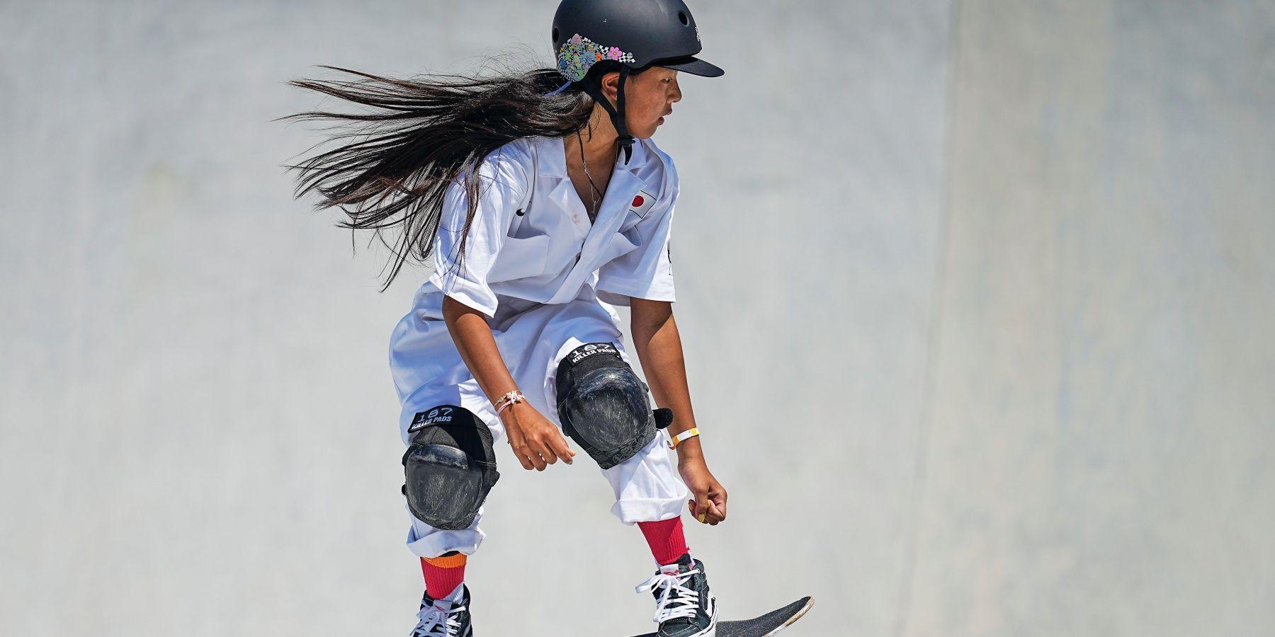 Kokona Hiraki during women's park skateboard at the Olympics at Ariake Urban Park, Tokyo, Japan on August 4, 2021. (Photo by Ulrik Pedersen/NurPhoto via Getty Images)