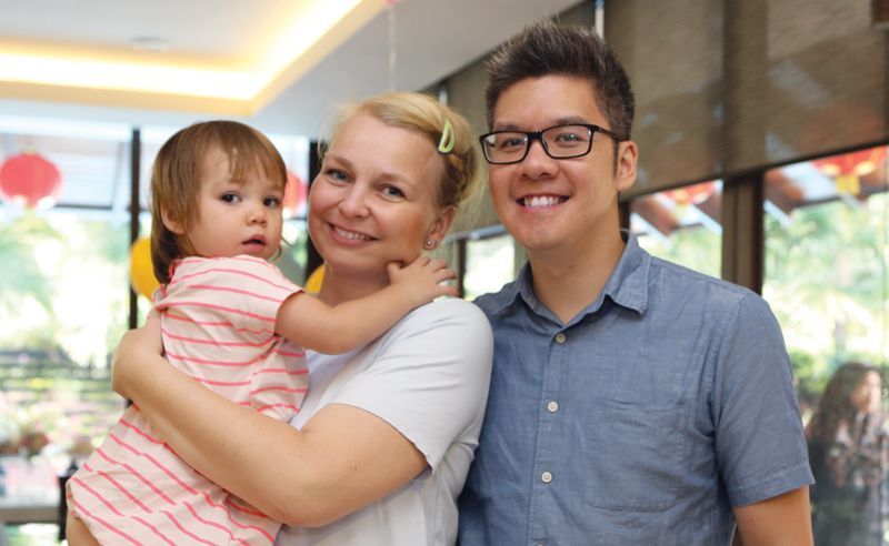 Robin and Anne Koh with their daughter Marthe