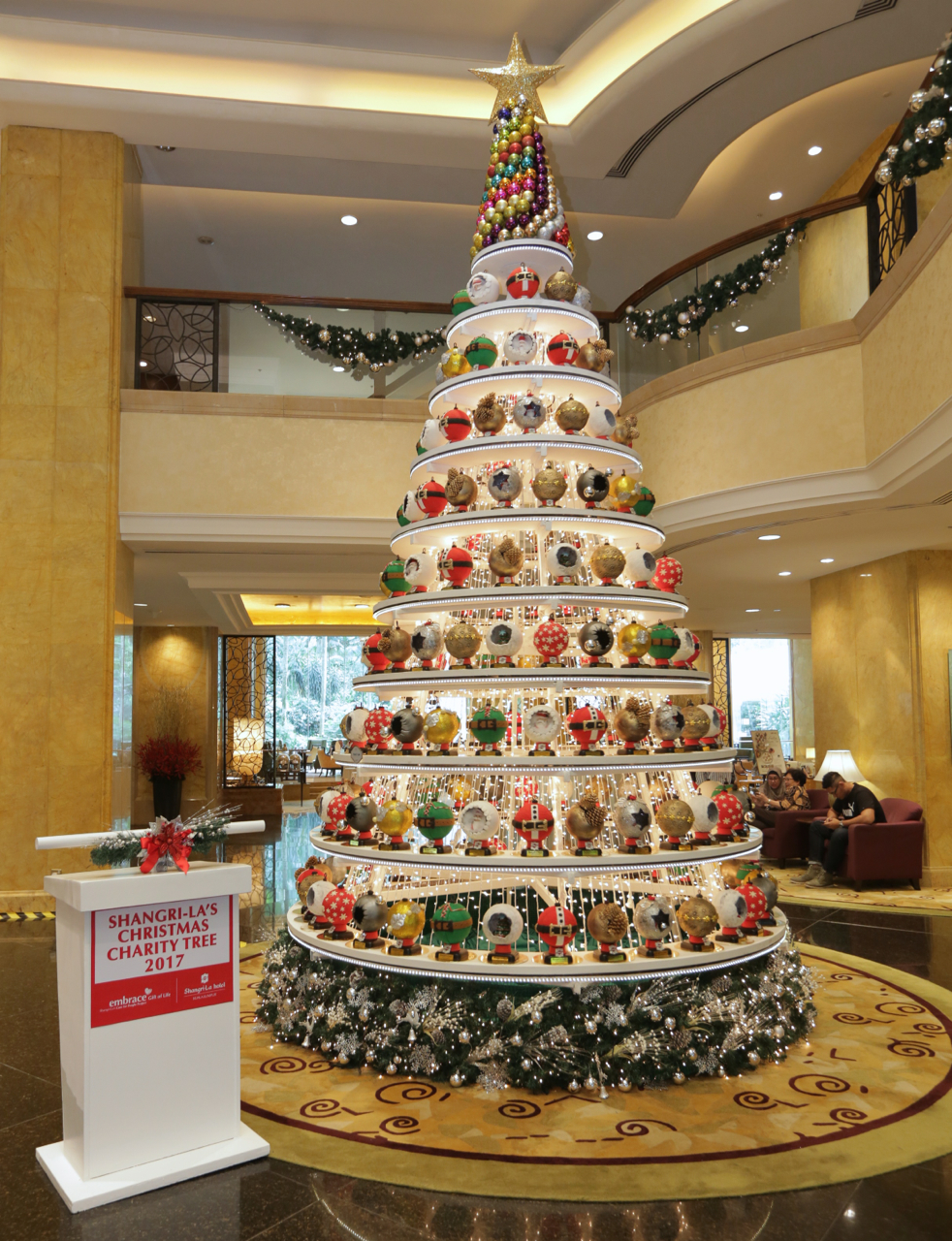 The Glittering Baubles of Life' Christmas Charity Tree 2017 in the main lobby of Shangri-La Hotel Kuala Lumpur