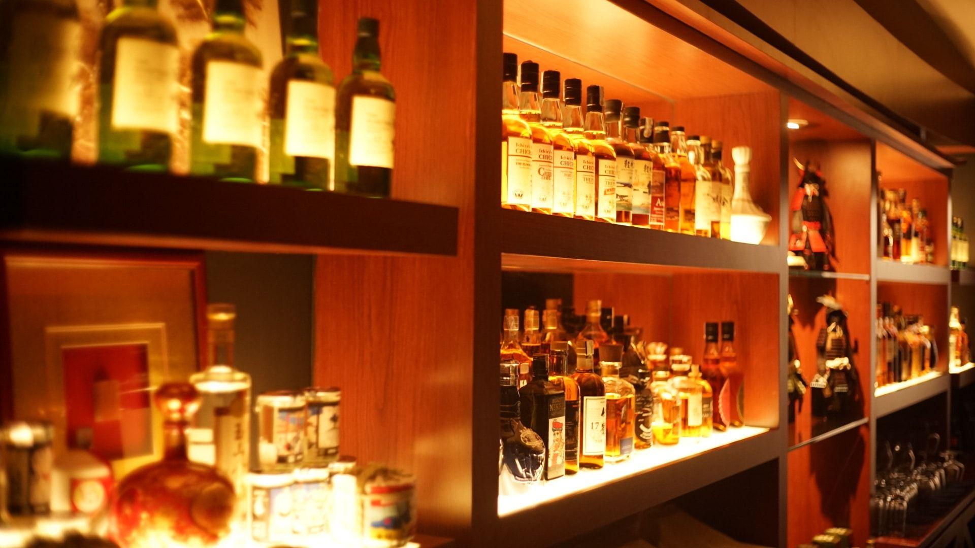Kenshin bar's whiskey selection