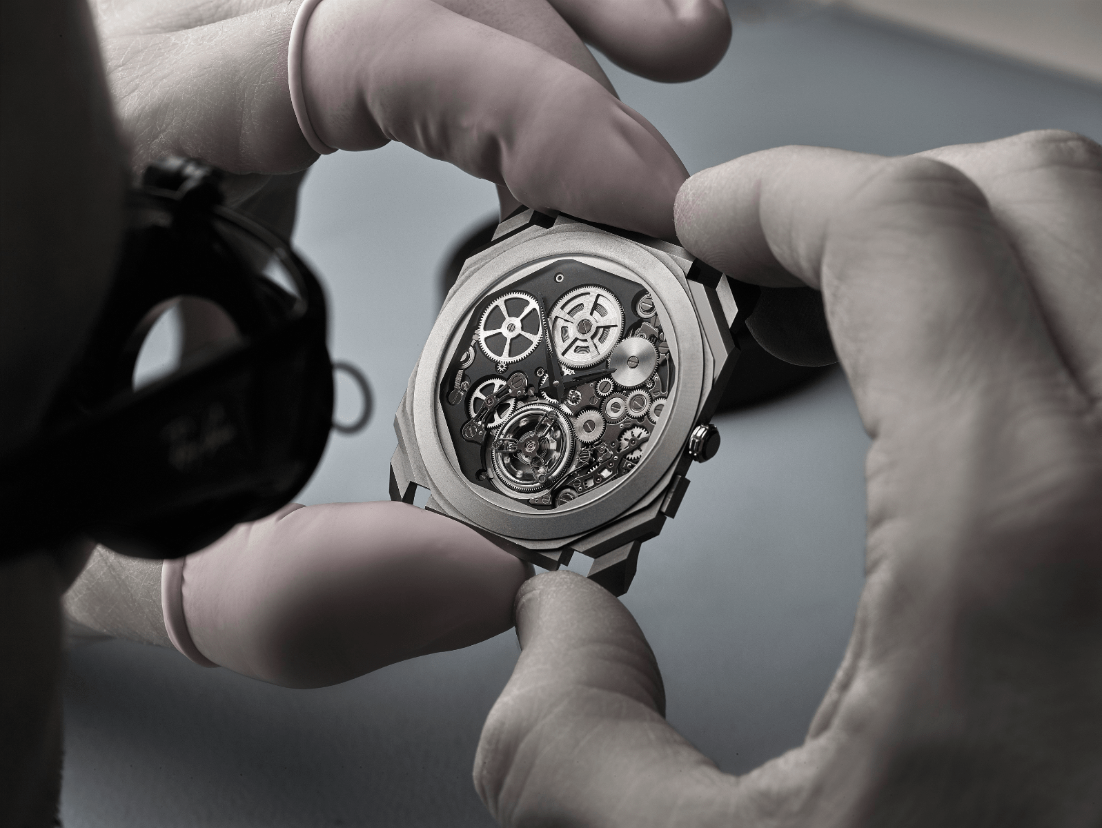 A watchmaker working on the ultra-thin Bulgari Octo Finissimo Tourbillon Automatic. (Photo: Bulgari)