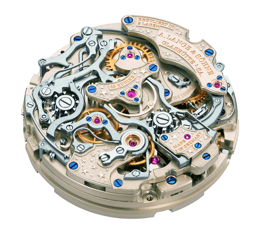 The elaborate beauty of A. Lange & Sohne's calibre L101.1 manual movement that powers the 1815 Rattraprante Perpetual Calendar Handwekskunst. (Photo: A. Lange & Sohne)
