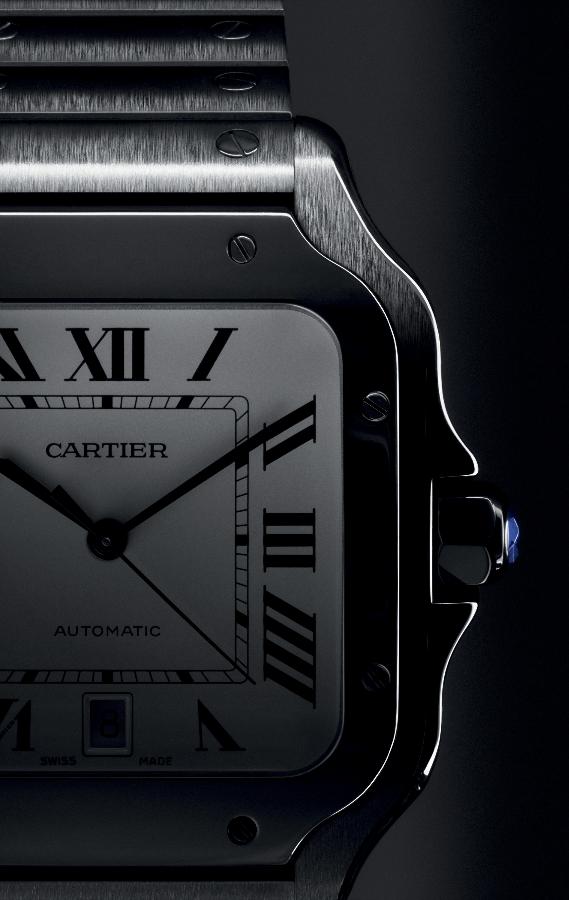 Square bezel, symmetrical lines and sapphire-set crown define the Santos model. (Photo: Cartier)