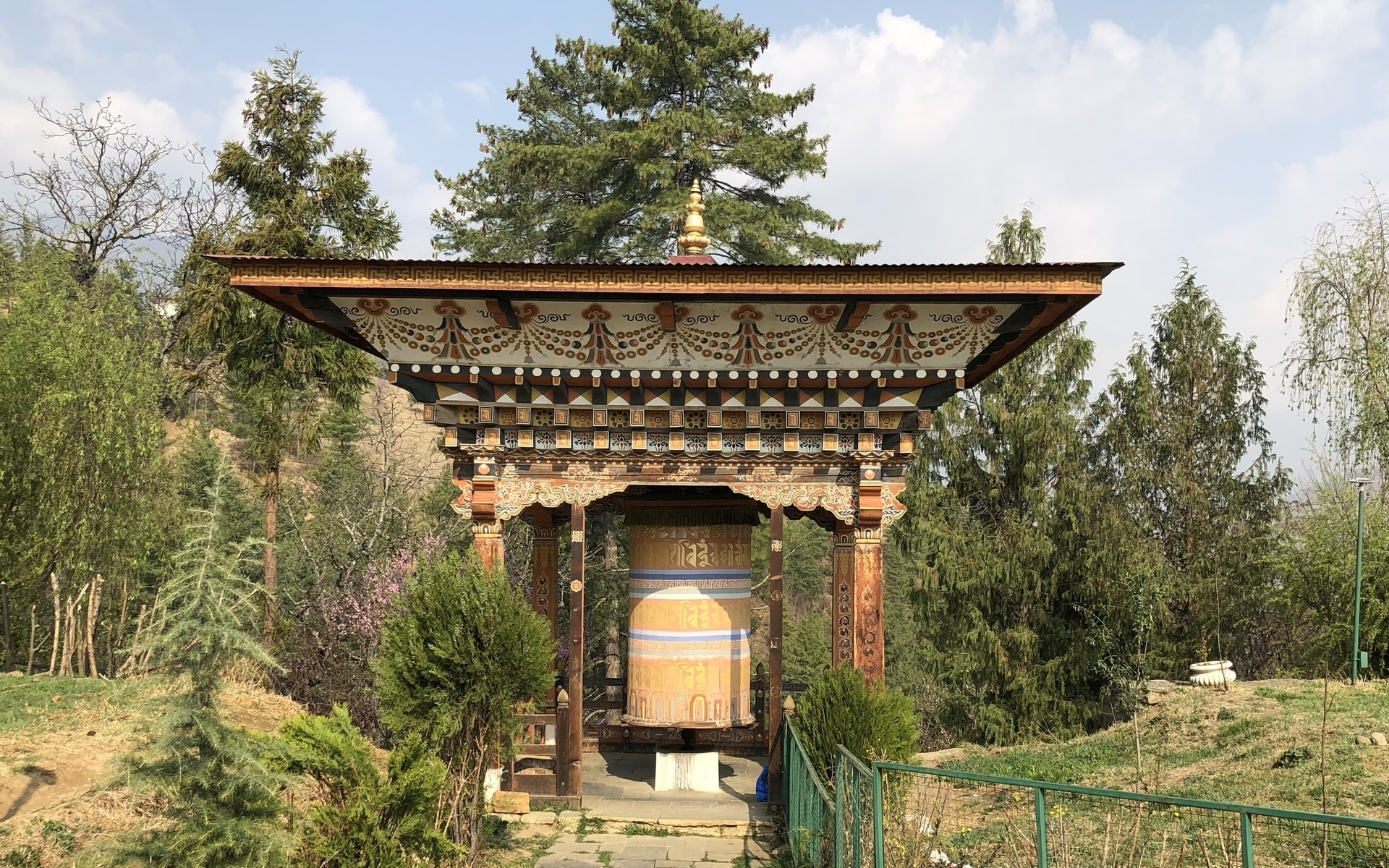 Simtokha Dzong, prayer wheels