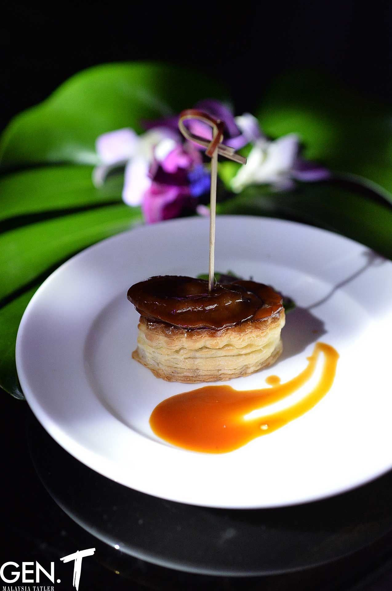 Abalone tarts served as part of the extensive canapés offering