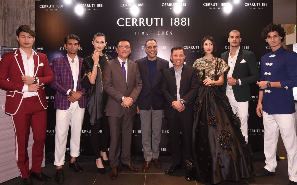 Rajiv Mehra (centre) with YY Kwan of AD Time (fourth from right) and models at the Cerutti 1881 Odissea Master launch in Kuala Lumpur (Photo: AD Time)