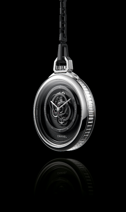 Baguette diamonds around the side of the pocket watch (Photo: Chanel)