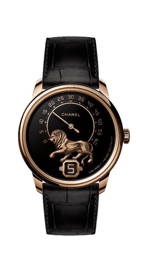 Monsieur wristwatch with lion sculpture on the dial (Photo: Chanel)