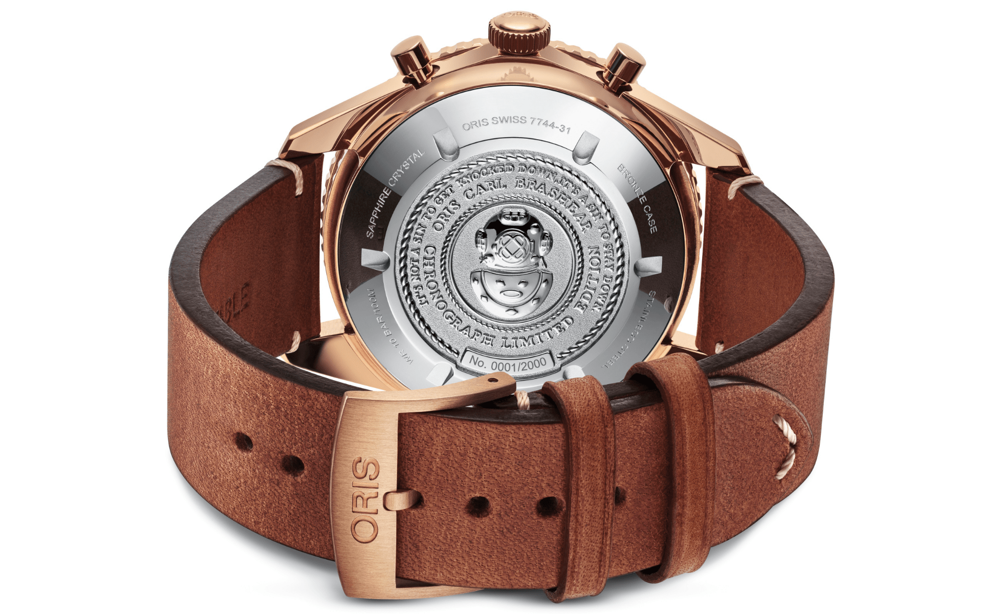 The caseback decorated with a diver's helmet and Brashear's words of wisdom (Photo: Oris)