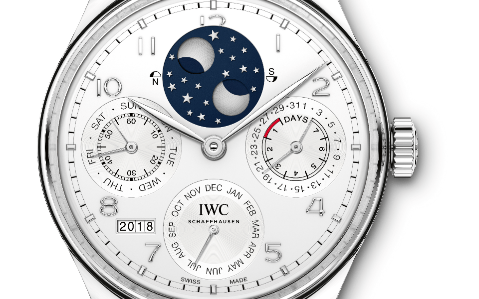 A close-up view of the new Portugieser perpetual calendar in platinum (Photo: IWC Schaffhausen)