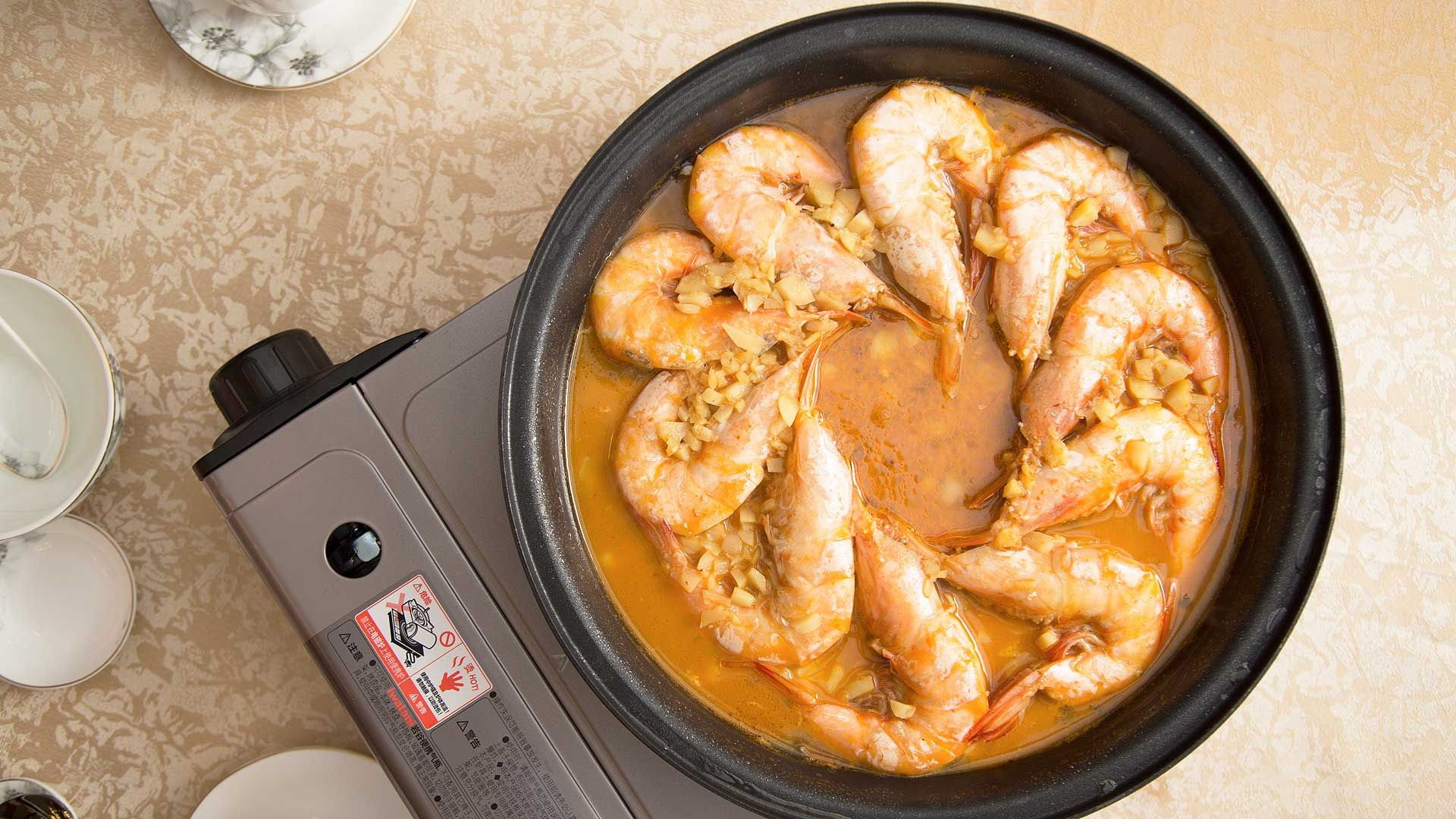 Poached prawns with Chinese yellow wine (2)