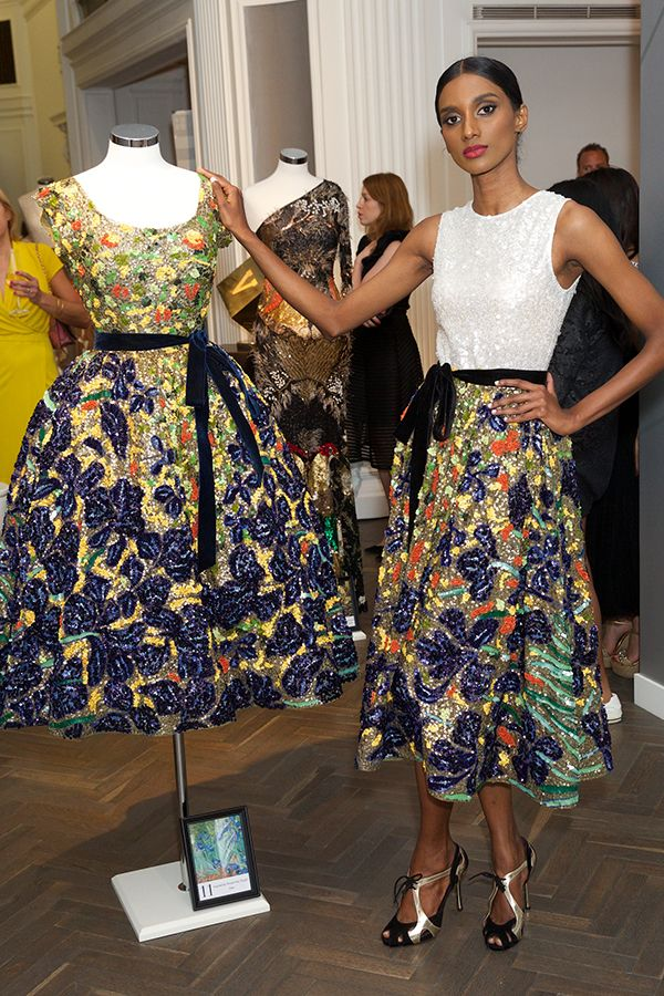 Vincent Van Gogh-inspired dress and skirt, depicting the work 'Irises'. Photo: Piers Allardyce