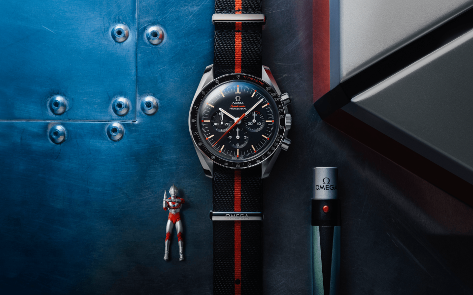 Inspired by Ultraman, the new Omega Speedy Tuesday comes with a strap changer with UV lamp to illuminate a hidden Ultraman profile on the dial. (Photo: Omega)
