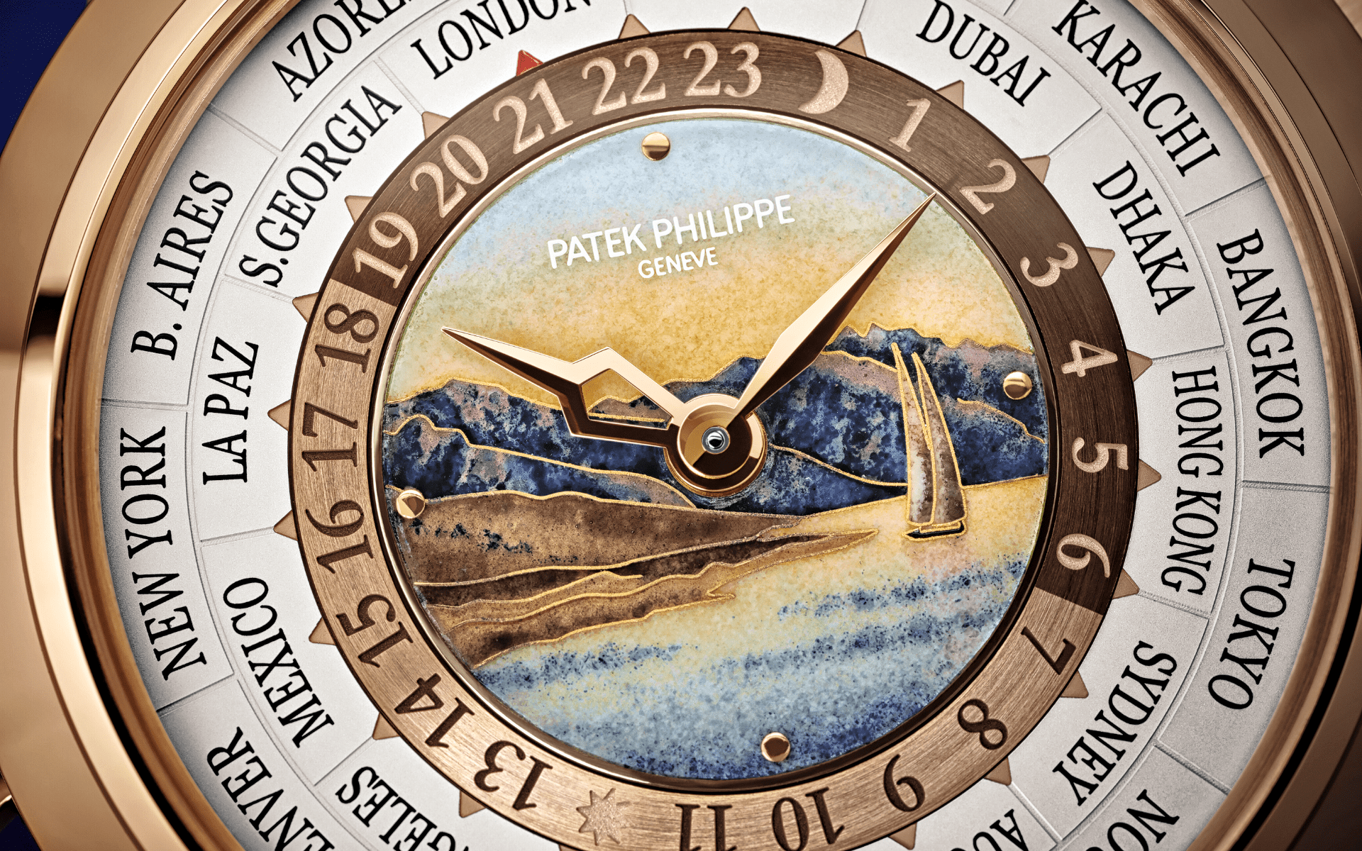 Patek Philippe Ref. 5531R World Time Minute Repeater with cloissone enamel of Lavaux wine region (Photo: Patek Philippe)