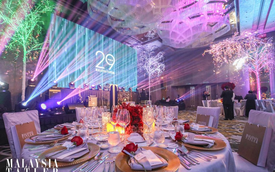 The Four Seasons Hotel Kuala Lumpur's grand ballroom. Ladurée macarons. Photo: Malaysia Tatler
