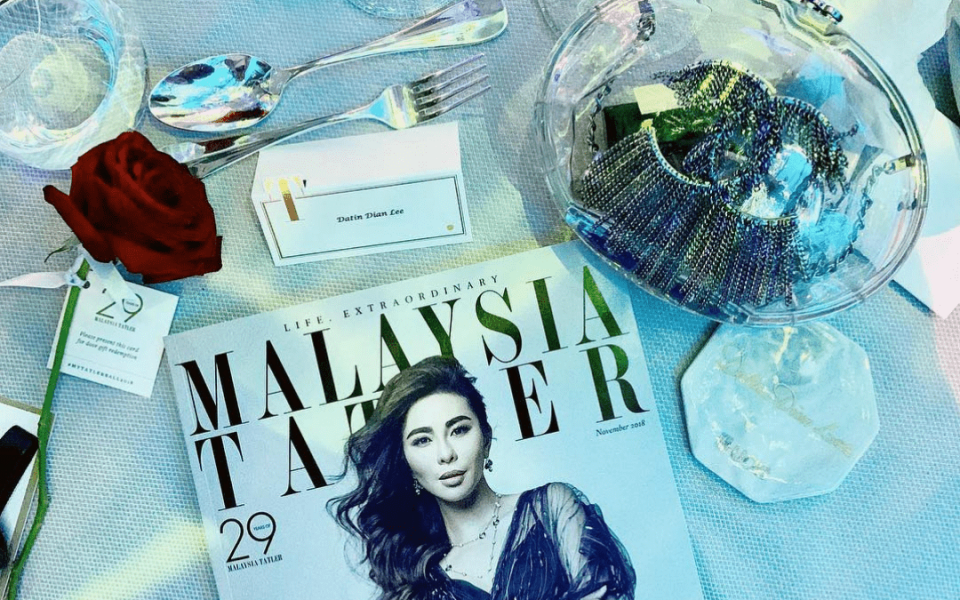 Datin Dian Lee on the cover of Malaysia Tatler's November issue (Photo: @dianwithlove)