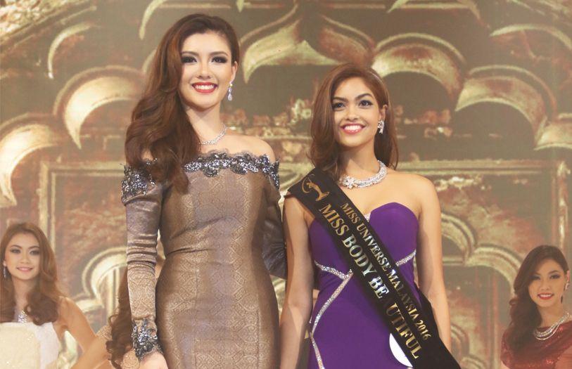 Miss Universe Malaysia director Carey Ng with Miss Body Beautiful winner Nisha Sema
