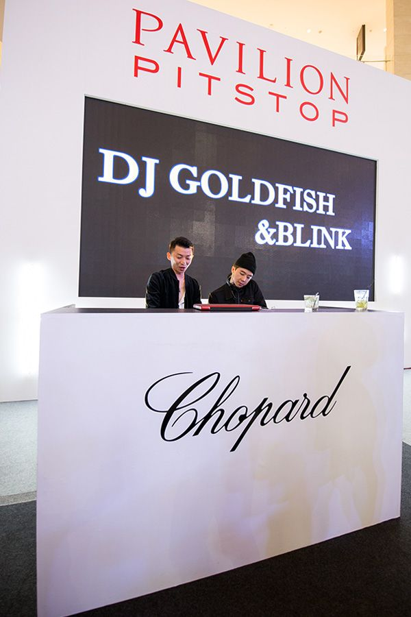 DJ Golfish and DJ Blink spinning at the party
