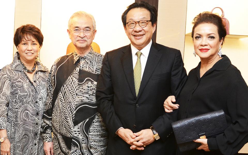 (L-R) -Datin Seri Jeanne Abdullah, Tun Abdullah Ahmad Badawi, Tan Sri Francis Yeoh and Louis Vuitton Malaysia General Manager, Kathy Lam