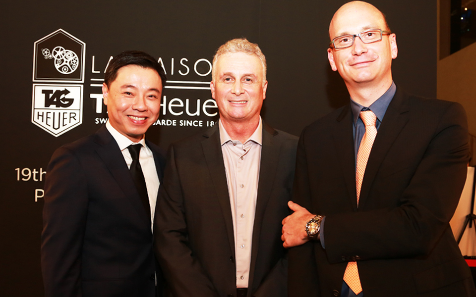 (L-R) Managing Director of Cortina Watch Malaysia, Tay Liam Khoon; Director of McLaren Kuala Lumpur, Simon Rock and COO of LVMH Watch & Jewellery Malaysia, Christophe Legaie