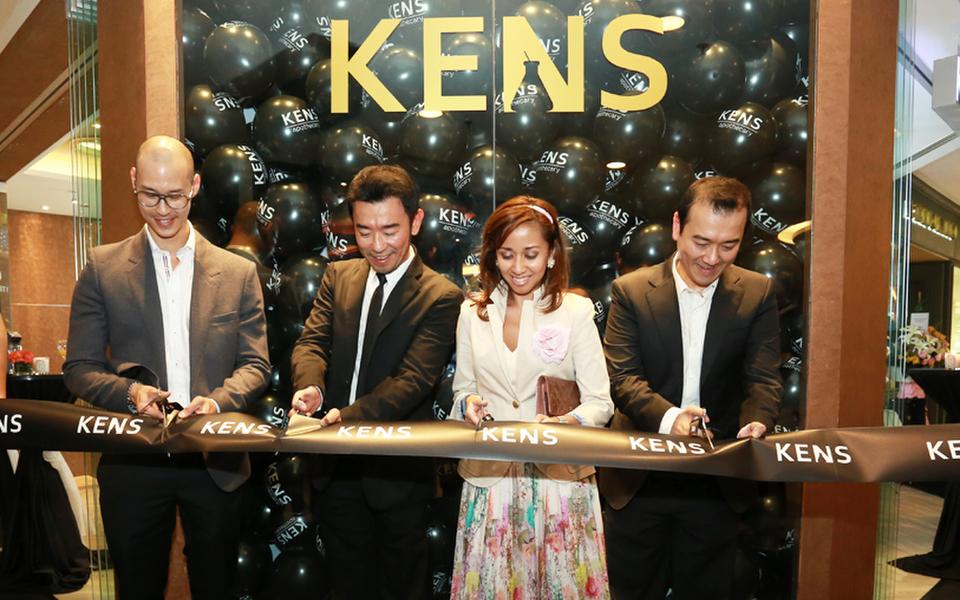 Hubert W Hoi, Ken Lim, Tengku Zatashah and Bernard Lim officiating the launch of KENS by cutting the ceremonial ribbon