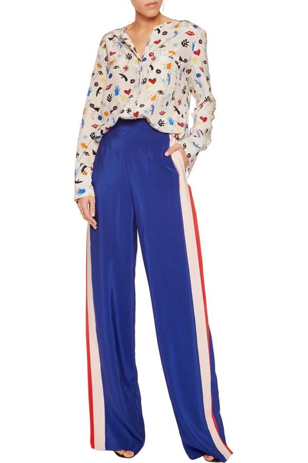 MSGM Paneled silk straight-leg pants.jpg