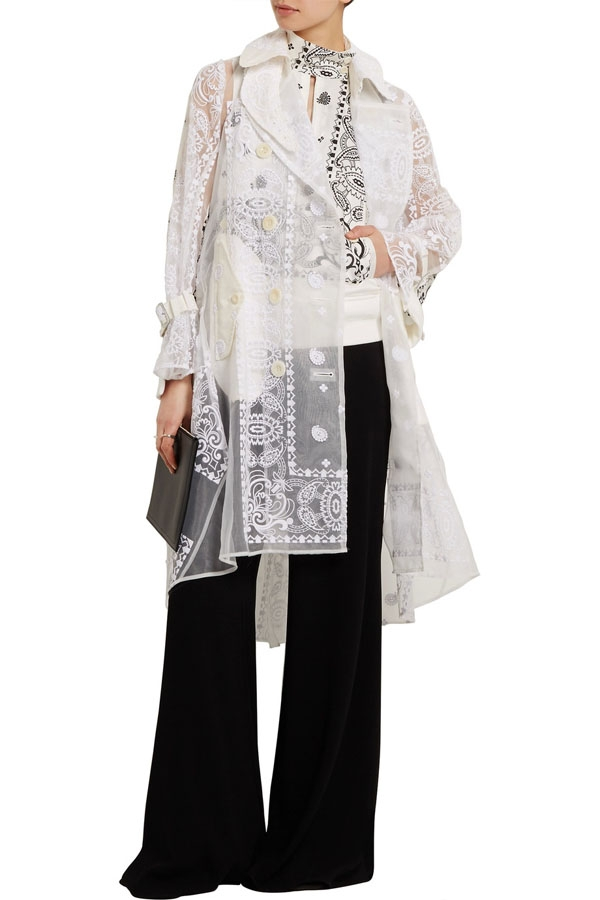 SACAI Embroidered organza and printed poplin trench coat.jpg
