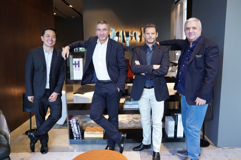 Ferdie Ong,General Manager of Living Innovations, Paolo Nardini, Minotti General Sales Manager, Alessandro Minotti, grandson of Minotti's founde.JPG