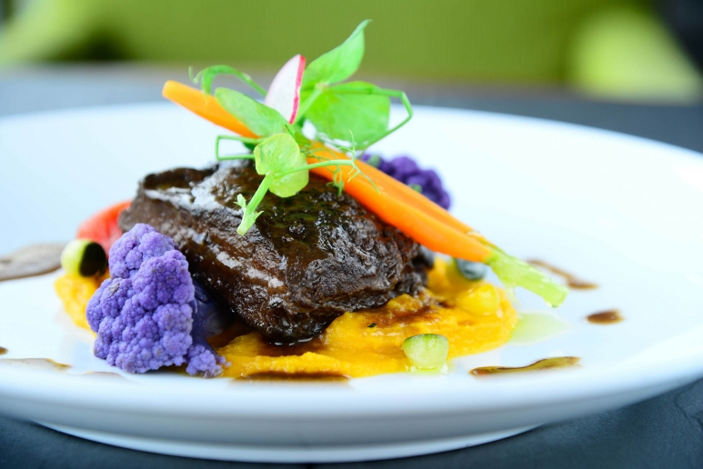 Slow Cooked Wagyu Beef Cheek with Barolo Red Wine Sauce on Mashed Pumpki....jpg