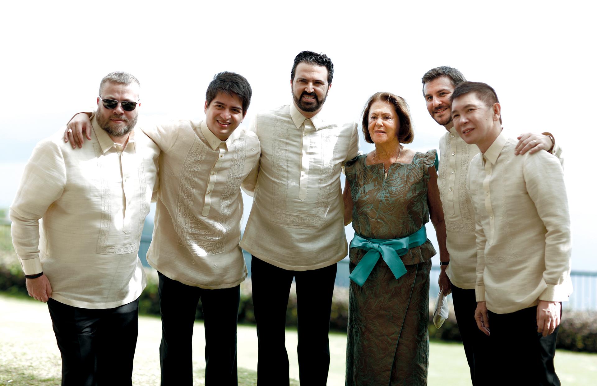 Kristoffer Larsen, Raoul Olbes, the groom and his mother Doña Teresa Benegas Lynch, Jonathan Crespi, Richard Tiu