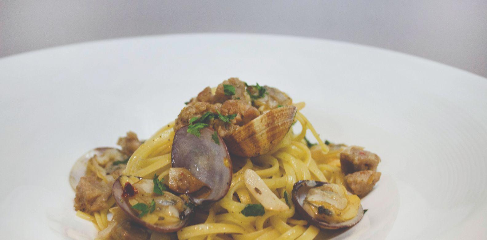 linguine, Manila clams, and spicy pork chorizo