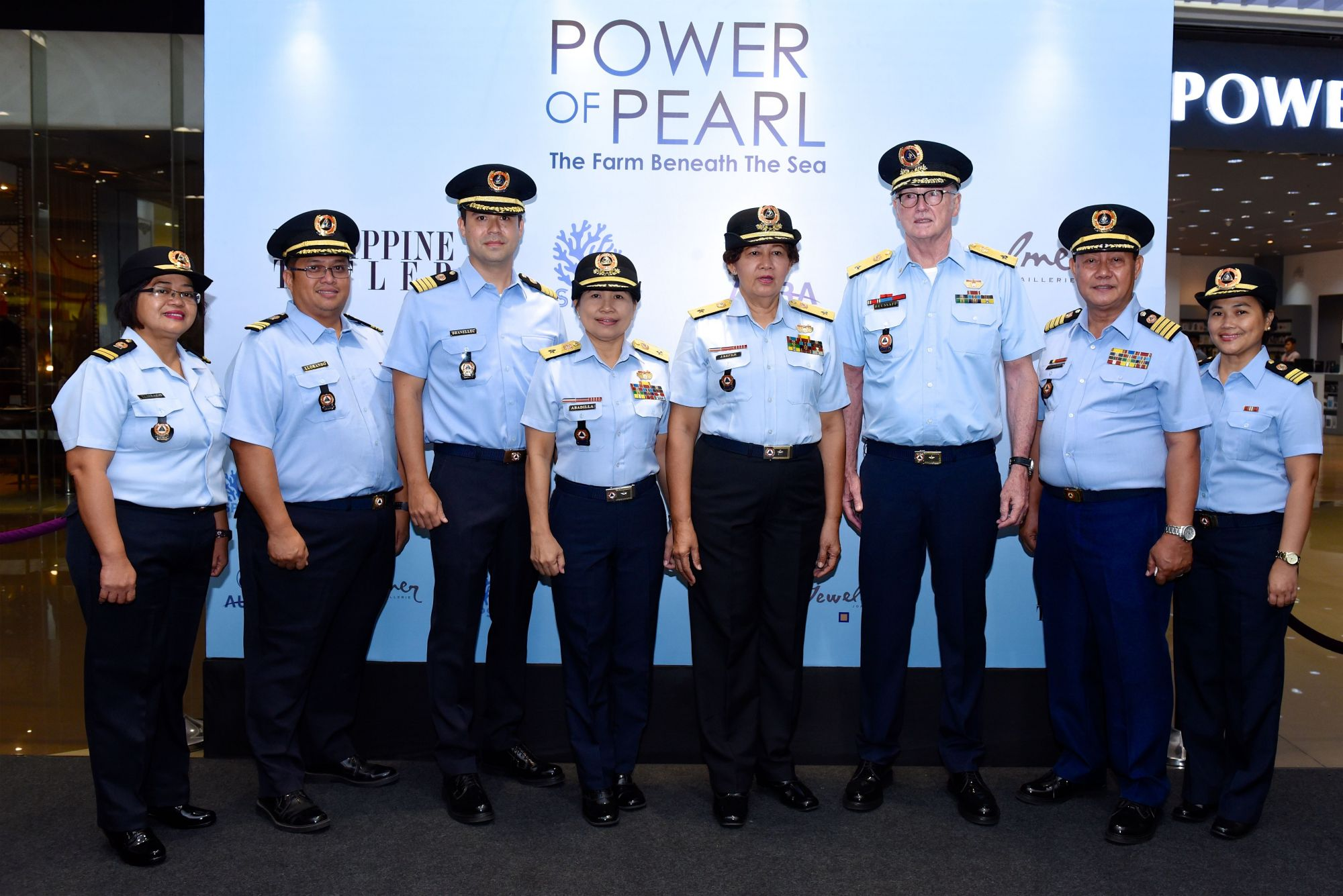 CGAD PAL LCDR Reza Tumbado 406th Squadron, LCDR Ian Llorando 402nd Squadron, Capt. Jacques Christophe Branellec, COMMO Marita Abadilla 402nd Squadron, COMMO Rosalym Jasper,   COMMO Louis Paul Heusaff, Capt. Payuyo, LCDR Melinda de Luna 402nd Squadron