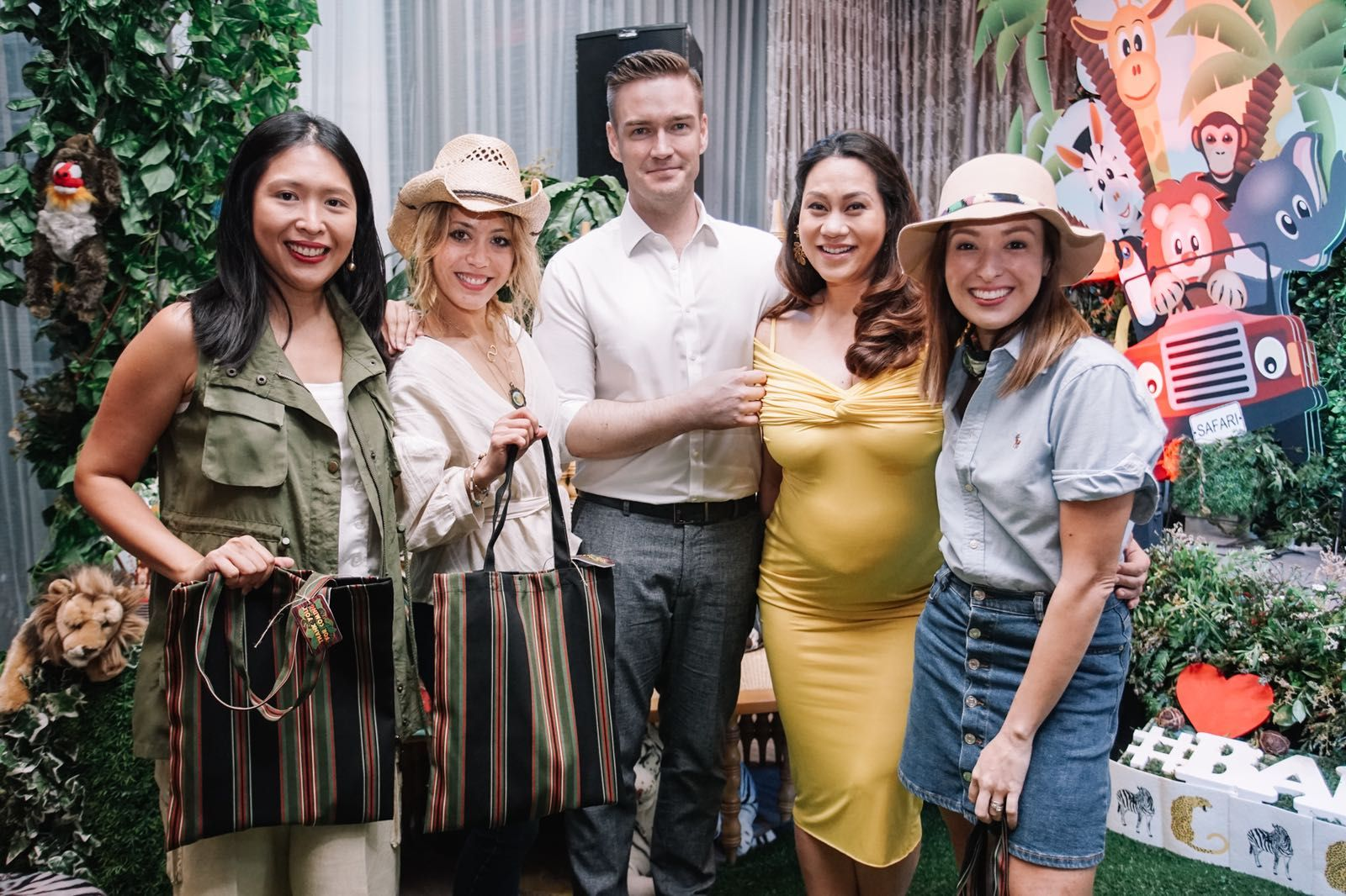 Winners of the first game Marielle Santos-Po, Shauna Jay Popple Williams and Nicole Hernandez de Los Angeles with the parents-to-be