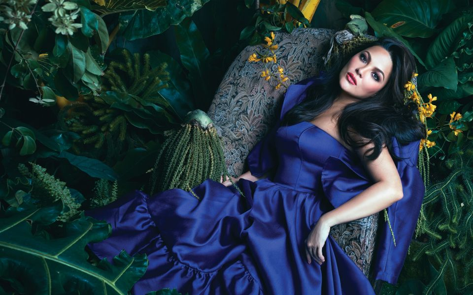 Royal blue gown with matching blazer by Rajo Laurel