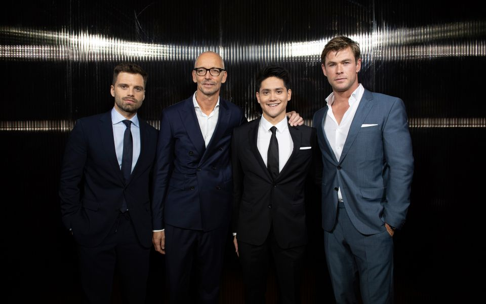 Sebastian Stan, Ingo Wilts (CBO HUGO BOSS), Joseph Schooling, and Chris Hemsworth in BOSS