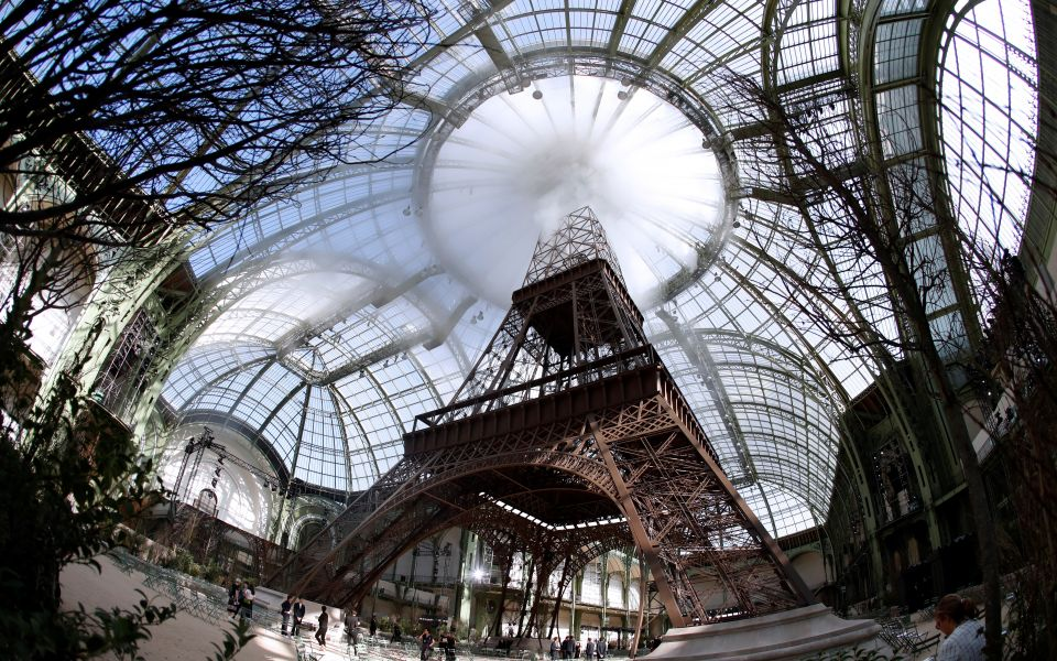 Karl Lagerfeld celebrated Paris by building a replica Eiffel Tower in the middle of the Grand Palais for the Chanel fall/winter 2017-2018 haute couture show. Paris, July 4, 2017.