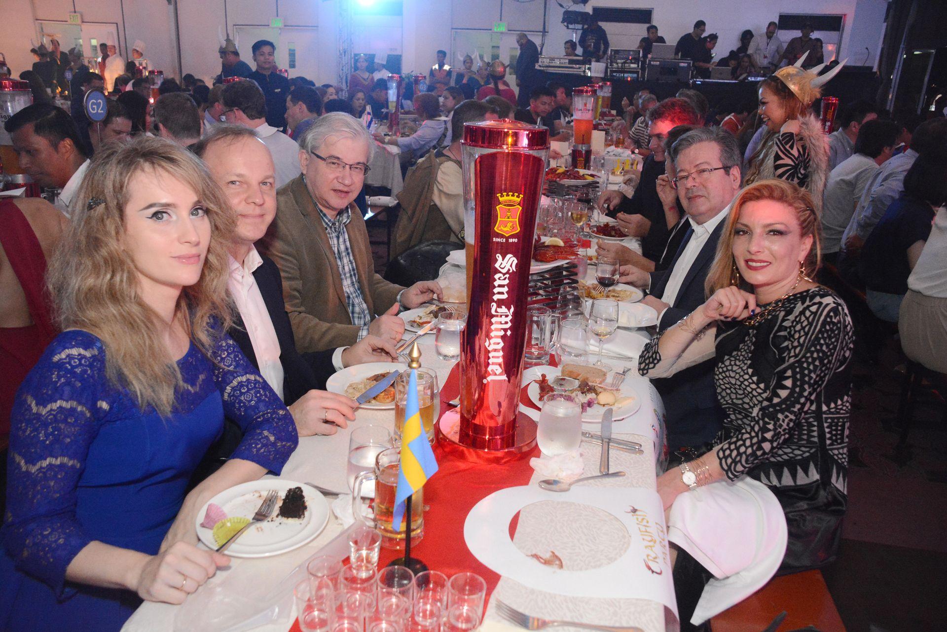 Anna Abrashina, Russian Embassy's Denis Abrashina, Russian Ambassador Igor Khovaev, French Ambassador Nicolas Galey and Sofitel Philippine Plaza's Director of Sales and Marketing Assia Daourova