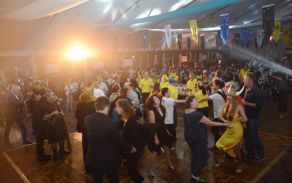 The crowd hitting the dance floor