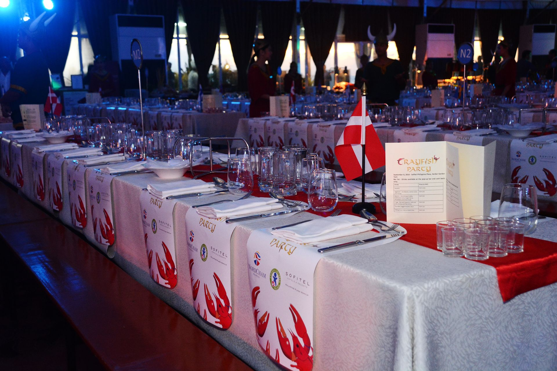 Table Set-Up for Crayfish Party